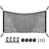 """PAMASE 43"""" x 17.5"""" Large Adjustable Elastic Envelope Cargo Net for Toyota Tacoma SUV GMC Yukon, Black Flexible Car Trunk Stor"""