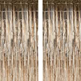 Twinkle Star 2 Pack Photo Booth Backdrop Foil Curtain Tinsel Backdrop Environmental Background for Birthday Party, Wedding, G
