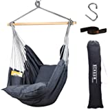 Bengum Hammock Chair Hanging Swing | Indoor and Outdoor Use | Large Swinging Seat Chair for Patio, Bedroom, or Tree | 2-Tone