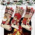 "Aitey Christmas Stocking, 18"" Set of 3 Santa, Snowman, Reindeer, Xmas Character 3D Plush Faux Fur Cuff Christmas Decorations"