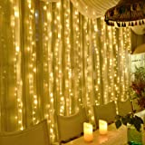 KNONEW 300 LED Window Curtain Icicle Lights, 8 Modes 9.84ftx9.84ft, LED String Fairy Light Plug in for Indoor Outdoor, Weddin