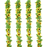 OUTLEE 4 Pack Artificial Sunflower Garland Faux Silk Sunflower Vines with 12 Flower Heads 8 ft Long for Home Garden Wedding P