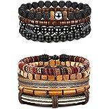 FIBO STEEL 10 Pcs Braided Leather Bracelets for Men Women Wrap Tiger Eye Lava Rock Beads Bracelet Woven Ethnic Tribal Rope Wr