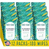 Flushable Wet Wipes for Travel by Go on the Go - Biodegradable, Alcohol-Free, with Soothing Aloe and Calendula, 12 packs of 1