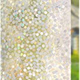 RABBITGOO No Glue Privacy Window Film Decorative Window Film Static Cling Window Film Circles Pattern Glass Film for Home Kit