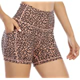 OVRUNS Biker Shorts for Women, Printed Yoga Shorts with Pockets Workout Running Athletic Compression Shorts