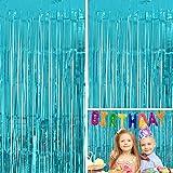 Moohome 2 Pack 3ft x 8ft Aquamarine Foil Fringe Curtain Backdrop Door Window Curtain Party Decoration