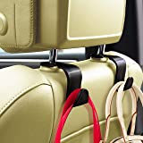Sunferno Car Headrest Hooks 4 Pack - Exceptionally Stylish Back Seat Hanger Your Purse, Grocery Bag to Keep Them from Sliding
