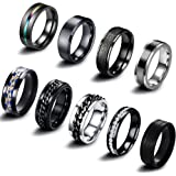 EIELO 9Pcs Stainless Steel Band Rings for Men Women Cool Fidget Spinning Chain Ring Anxiety Relief Fashion Simple Wedding Eng