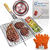Stainless Steel Non Stick Portable Folding BBQ Grill Basket with Removable Handle and Gloves Set for Grilling Barbecue Fish S