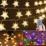 Star Christmas String Lights Plug in 33 Feet 100 Led 8 Modes Color Changing Star Fairy Lights with Remote for Bedroom Outdoor
