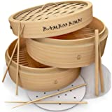 Bamboo Bimbi Chinese Steamer Basket - Traditional 10 Inch Bamboo Steamer Basket for Cooking Healthy Food in 2 Tiers Simultane
