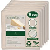6 Pack 20x20 Inch Grade 90 Hemmed Cheesecloth, 100% Unbleached Cotton Fabric Ultra Fine Reusable Muslin Cloth for Straining,