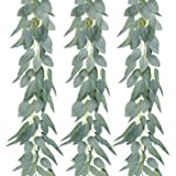 AGEOMET 3 Pack Artificial Eucalyptus Garland Greenery Eucalyptus Vine, Composed of 2 Types of Eucalyptus Leaves, Eucalyptus S