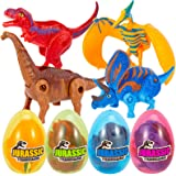 ThinkMax 4 Pcs Easter Eggs Filled with Transforming Dinosaur Toys for Easter Theme Party Favor Easter Eggs Hunt Basket Filler