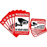 """12-Pack Video Surveillance Sign (6-pack 6""""x4"""" & 6-pack 3.5""""x2.5""""), Double-Sided Vinyl Decals for No Trespassing-Warning Stick"""
