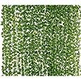 Yatim 78-Ft 12 Pack Silk Artificial Ivy Vines Leaf Garland Plants Hanging Wedding Garland Fake Foliage Flowers Home Kitchen G