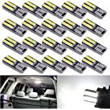 Aucan Super Bright 194 921 168 2825 W5W T10 Wedge 24-SMD 3014 Chipsets LED Replacement Bulbs for 12V Car Interior Dome Map Do