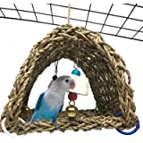 kathson Bird Sheltering Seagrass Tent Hammock Small Animal Snuggle Hut Parrot cage Toy for Parakeets,Cockatiels,Lovebirds,Rin