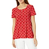 ANNE KLEIN Womens 10734764-6WQ Short Sleeve High Low Top Short Sleeve Blouse - red