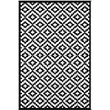 Green Decore Nirvana Premium Grade Stain Proof Reversible Plastic Outdoor Rug (180 X 270 cm, Black/White)