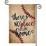 AVOIN Baseball Garden Flag Vertical Double Sided There's No Place Like Home, Bat Ball Sport Softball Burlap Flag Yard Outdoor