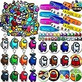 Among Us Party Supplies Favors 110Pcs -12Pcs Key Chain 12Pcs Bracelets 24Pcs Shoe Charms 12Pcs Button Pins 50Pcs Stickers Par