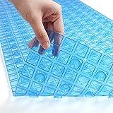お風呂マット 風呂マット 浴槽 滑り止め バスマット 転倒防止 介護 浴室 清潔 吸盤付き 40*71cm 透明ブルー