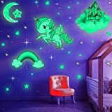Glow in The Dark Stars, Glowing Unicorn Sets with Castle Moon and Rainbow Wall Decals for Kids Bedding Room, Great for Birthd