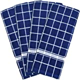 DII 100% Cotton, Machine Washable, Ultra Absorbant, Basic Everyday 16 x 26 Terry Kitchen Dish Towel, Set of 4- Nautical Blue
