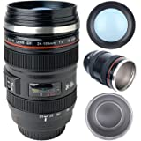 Camera Lens Coffee Mug with Lid, Photo Coffee Cup Stainless Steel Photographer Travel Lens Mug Thermos TMANGO