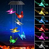 Sunjoyco Butterfly Solar Wind Chimes, Color-Changing Outdoor Waterproof LED Wind Chime Solar Powered Colorful Light for Home/