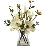Nearly Natural 4534-WH Magnolia Arrangement with Vase White