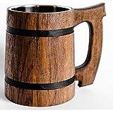Old Style Viking Beer Mug Wooden Handmade Retro Brown Cup, Oak Beer Tankard - Wood Carving Beer Mug of Wood Eco Friendly Beer