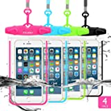 LENPOW Waterproof Phone Case, 4 Pack Universal Waterproof Pouch Dry Bag with Neck Strap Luminous Ornament for Water Games Pro
