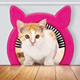 PAWSM Interior Cat Door, Pet Door for Cats, Cat Door Hides Litter Tray, Cat Door with Brush, Fits Cats Up to 20lbs