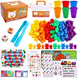 Riccione Rainbow Counting Bears with Matching Sorting Cups, 112 Piece Super Value Set Montessori Educational Toddler STEM Mot