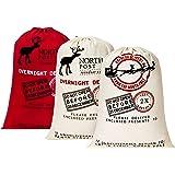 "HBlife Personalized Santa Sack 27.6""x 19.7"" Gift Bag for Christmas Cotton Santa Bag with Drawstring Xmas Present Bag - 3pc"