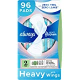 Always Infinity Feminine Pads for Women, Size 2, 96 Count, Heavy Flow Absorbency, with Wings, Unscented (32 Count, Pack of 3
