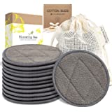12 Charcoal Bamboo Reusable Makeup Remover Pads With Laundry Bag (+ Biodegradable Cotton Bamboo Earbuds-100 pcs)-Planet Frien