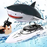 alpdolf 2 in 1 RC Boat, Remote Control Shark Boat Toys for Pools and Lakes, 2.4GHz Electric Racing Boat with Disassembled Sim