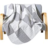 Soul & Lane 100% Cotton Patchwork Quilted Throw in The Mist