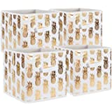 DII Foldable Fabric Storage Containers (11x11x11) Pineapple Set of 4, Small (4), White/Gold 4 Count