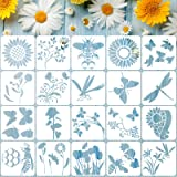 20 Pieces Reusable Flower Stencil Template for Painting, Sunflower Spring Summer Butterflies Bee Dragonfly Stencil Template,