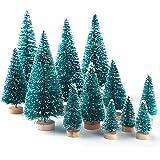 KUUQA 36Pcs Mini Sisal Snow Frost Christmas Trees Bottle Brush Trees Plastic Winter Snow Ornaments Tabletop Trees with Merry