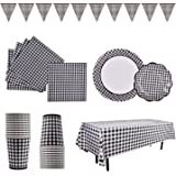 "Gingham Set 25 9"" Plate 7"" Plate Napkin Cup Tablecloth Banner Black"