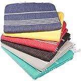 (Pack of 6, Variety) - Towel Set 6 Pieces Variety - Classic Turkish Peshtemal Towel 100% Cotton 100cm X 180cm Stylish Bath Be
