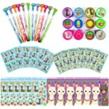 TINYMILLS Llama Alapaca Birthday Party Favor Set (12 multi-point pencils, 12 self-inking stampers, 12 sticker sheets, 12 smal