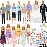 SOTOGO 58 Pieces Doll Clothes and Accessories for Barbie Ken Dolls Lovers Life Playset Include 14 Set Handmade Doll Groom Sui