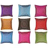 Indian Handmade Decorative Silk Brocade Traditional Home & Living Room Decor Vintage Pillowcases Embroidery Work Silk Boho Ch